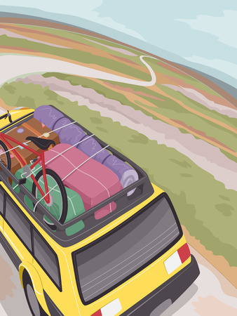 roadtrip: Illustration of an SUV Full of Traveling Essentials