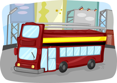 double decker: Illustration of a Double Decker Bus with an Open Top Stock Photo