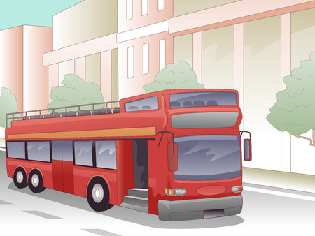 parked: Illustration of a Double Decker Bus Parked in Front of a Building