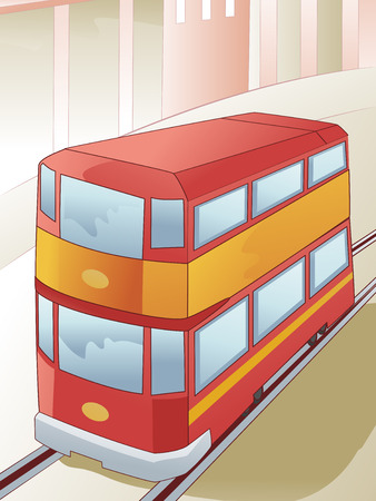 double decker: Illustration of a Double Decker Tram in the Middle of the Railway