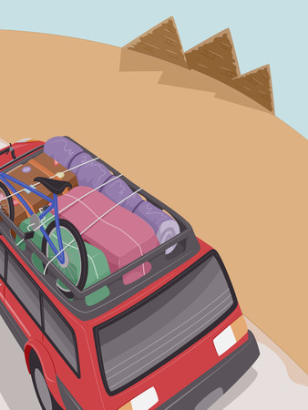 roadtrip: Illustration of an SUV Full of Camping Gear Headed Towards the Pyramids of Egypt