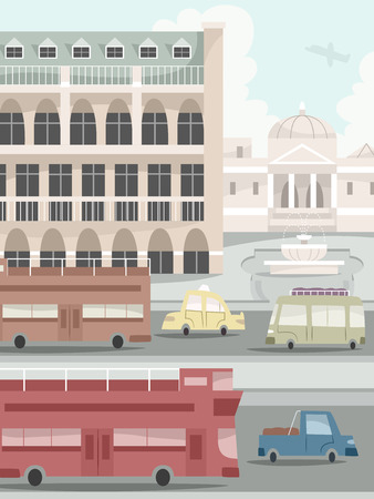 back and forth: Illustration of a Typical Urban Scene with Vehicles Going Back and Forth
