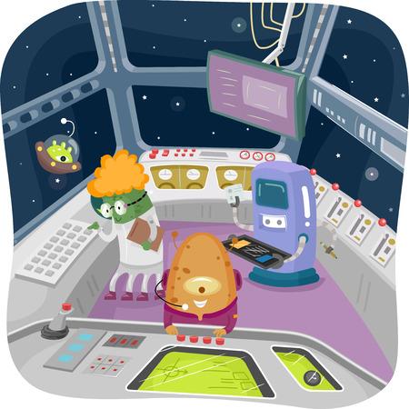 Illustratie van Aliens Knutselen met de controles in de Control Room