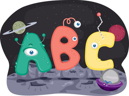 terrestrial: Illustration of Aliens Shaped Like Letters of the Alphabet Stock Photo