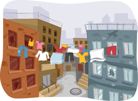 ghetto: Illustration of a Ghetto with Clothes Hanging from a Clothesline in Plain Sight