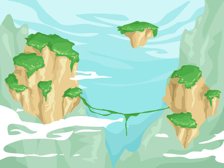 vegetation: Illustration of Floating Islands with Lush Vegetation on Top Stock Photo