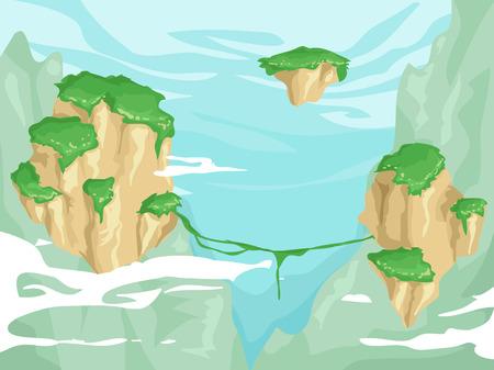 vegetation: Illustration of Floating Islands with Lush Vegetation on Top Stock Photo