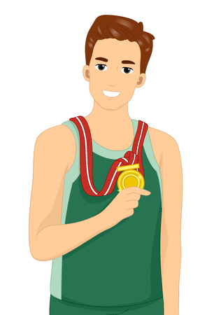 achievement clip art: Illustration of a Male Athlete Showing His Gold Medal