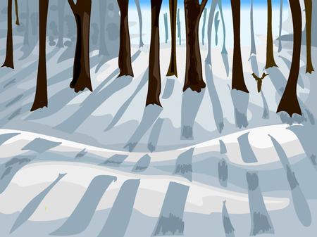 cropped: Cropped Illustration of a Forest Covered with Snow Stock Photo