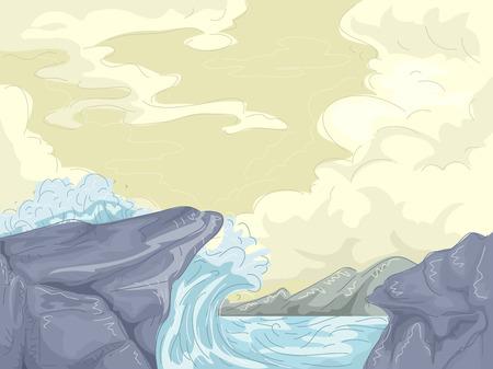 waves crashing: Illustration of Giant Waves Crashing Against the Shore Stock Photo
