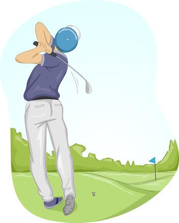 golfer swinging: Frame Illustration of a Golfer Swinging His Club