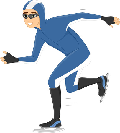 speed skating: Illustration of a Speed Skater Smoothly Gliding on Ice Stock Photo
