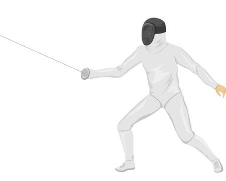 esgrimista: Ilustración de un Fencer La celebración de un palillo de Esgrima Foto de archivo