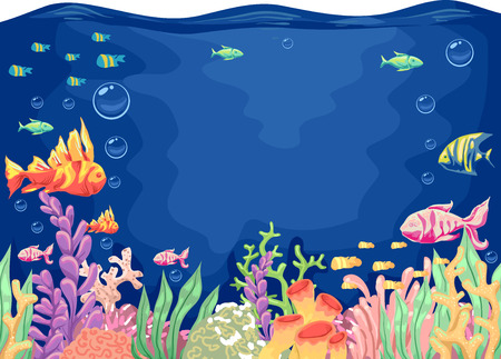 seaweeds: Colorful Illustration of a Typical Underwater Scene