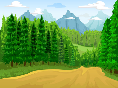 mountain landscape: Illustration of a Coniferous Forest with Mountains in the Background