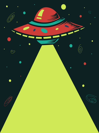 extra terrestrial: Illustration of a Spaceship Shooting a Laser Beam