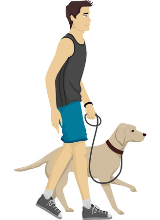 dog walking: Illustration of a Man Taking His Dog for a Walk Stock Photo