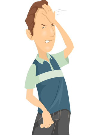 forehead: Illustration of a Man Smacking His Forehead in Frustration Stock Photo