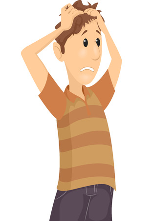 anxious: Illustration of a Confused Man Tearing His Hair Apart