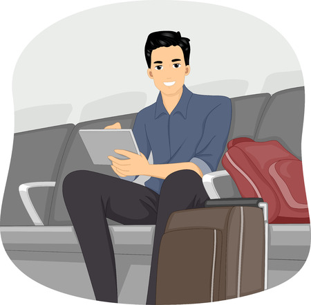 airport cartoon: Illustration of a Man Using His Computer Tablet in the Airport Lounge Stock Photo