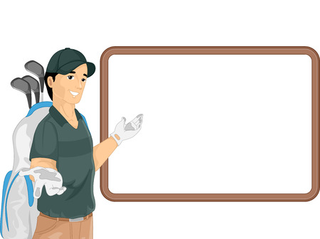 caddy: Illustration of a Caddy Gesturing to a Blank Board