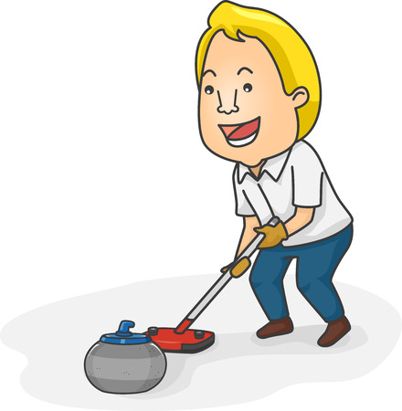 curling stone: Illustration of a Man Pushing a Curling Stone with a Curling Broom Stock Photo