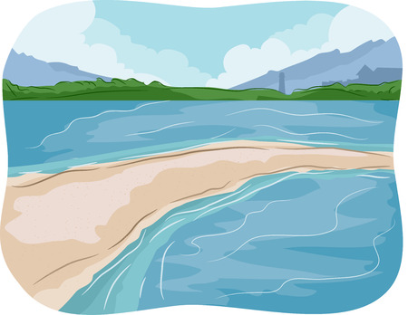 sandbar: Illustration of a Sandbar in the Middle of the Sea Stock Photo