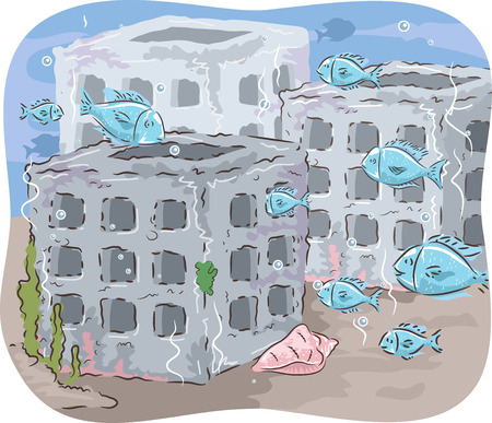 reefs: Illustration of Fishes Swimming in and out of Artificial Reefs Stock Photo