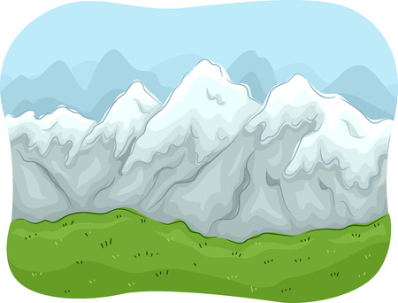 mountain range: Scenic Illustration of a Mountain Range Covered with Snow