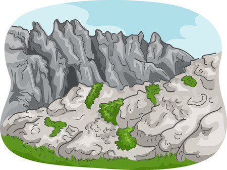 rural scene: Scenic Illustration of a Rocky Mountain Range with Some Foliage Below