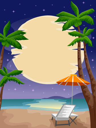 reclining chair: Illustration of a Peaceful Beach Front Lighted by the Moon