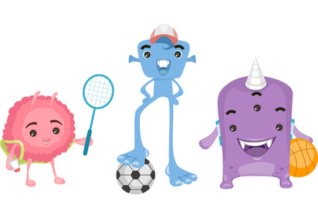 playmates: Illustration of Cute Little Aliens Playing Sports