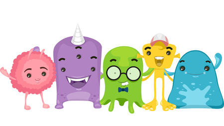 extra terrestrial: Illustration of Cute Little Aliens Hanging Out Together