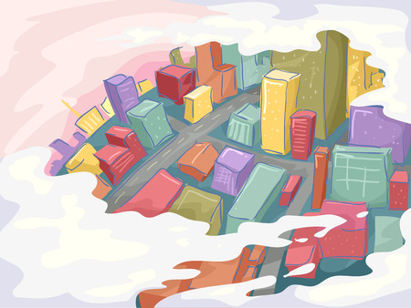 sketchy: Sketchy Illustration of a City as Viewed from Above