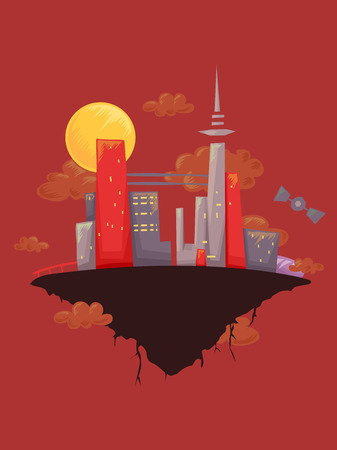 floating: Illustration of a Floating City Framed Against a Red Background
