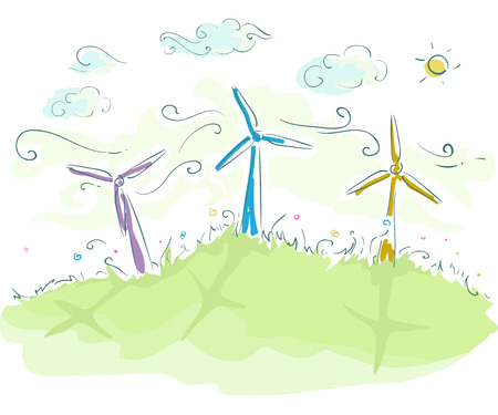 sketchy illustration: Sketchy Illustration of Wind Turbines Spinning Furiously Stock Photo