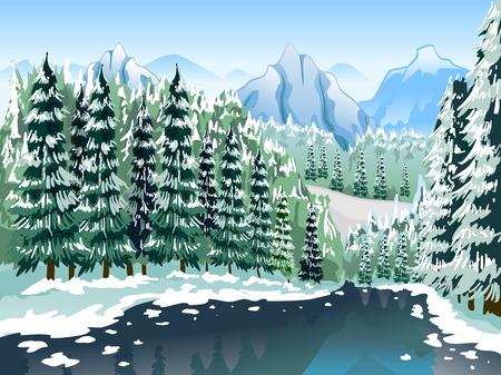 coniferous forest: Ilustraci�n de un bosque de con�feras cubierto con capas de nieve