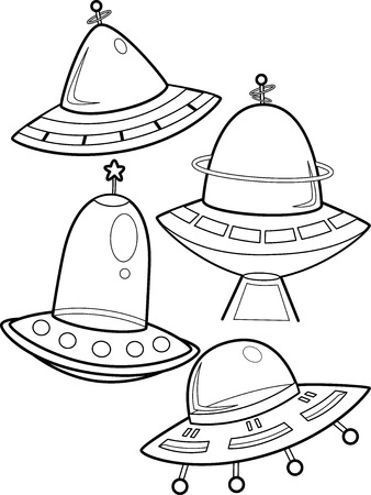 unidentified: Line Art Illustration of Unidentified Flying Objects Stock Photo