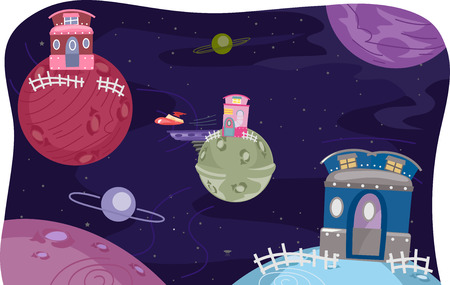 atop: Whimsical Illustration of Houses Atop Planets