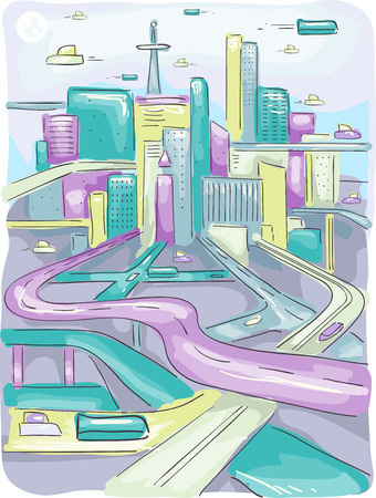 urban planning: Futuristic Illustration of a Modern City with Long and Winding Highways