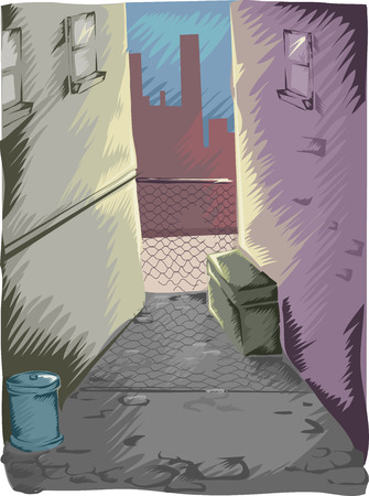 dark city: Illustration of a Mysterious Dark Alley in a Modern City