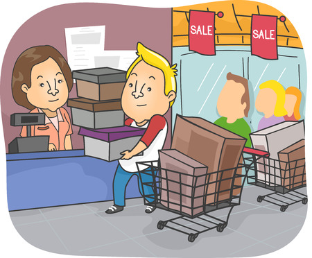 shopping spree: Illustration of a Man Going on a Shopping Spree