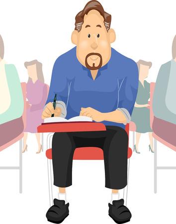 tertiary: Illustration of an Elderly Student Taking an Examination