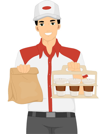part time: Illustration of a Delivery Man Carrying Takeout Food Stock Photo