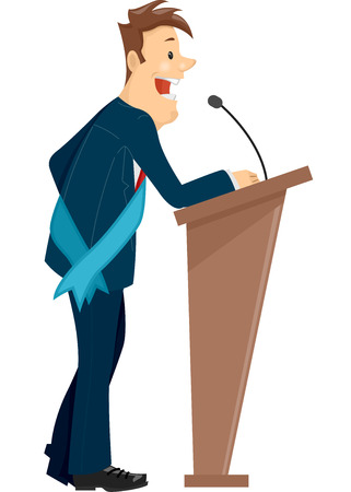 sash: Illustration of a Man Wearing a Sash Standing Behind a Podium Delivering a Speech Stock Photo