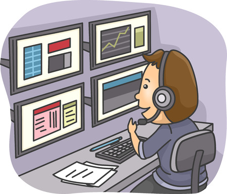 stock broker: Illustration of a Man Using Multiple Monitors to Keep Track of Events Stock Photo