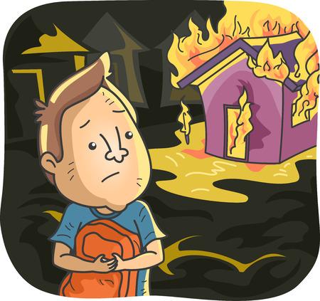 incendio casa: Ilustración de un hombre mirando a su apenada Casa quemar