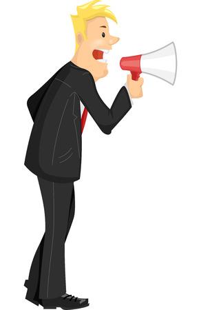 Illustratie van een zakenman met een megafoon naar Give Out Commands Stockfoto