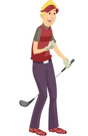 glee: Illustration of a Golfer Doing a Fist Pump in Glee
