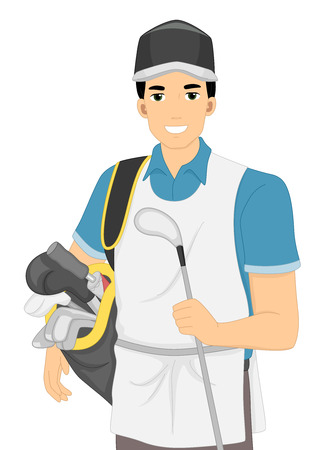 caddy: Illustration of a Caddy Carrying a Golf Bag and a Golf Club